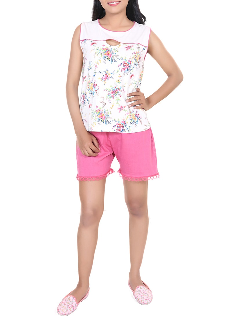 2e9b1f5d33 Buy Multicolored Floral Printed Cotton Shorts Set by 9teenagain - Online  shopping for Nightwear Sets in India