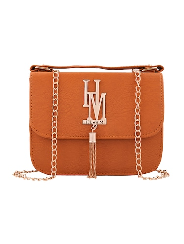 Brown leatherette regular sling bag - 13675891 - Standard Image - 1