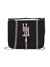 black leatherette structured sling bag -  online shopping for sling bags