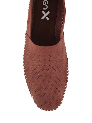 brown synthetic slip on shoes - 13690857 - Standard Image - 4