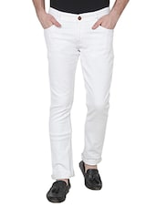 white cotton blend plain jeans -  online shopping for Jeans