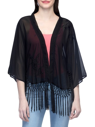 black embroidered regular shrug -  online shopping for Shrugs