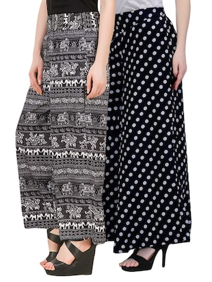 set of 2 black printed crepe palazzos -  online shopping for Palazzos