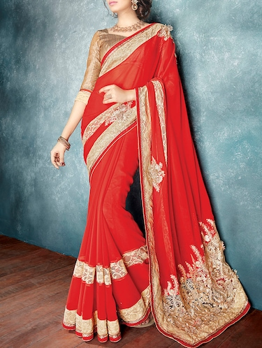 red georgette embroidered saree with blouse - 13719411 - Standard Image - 1