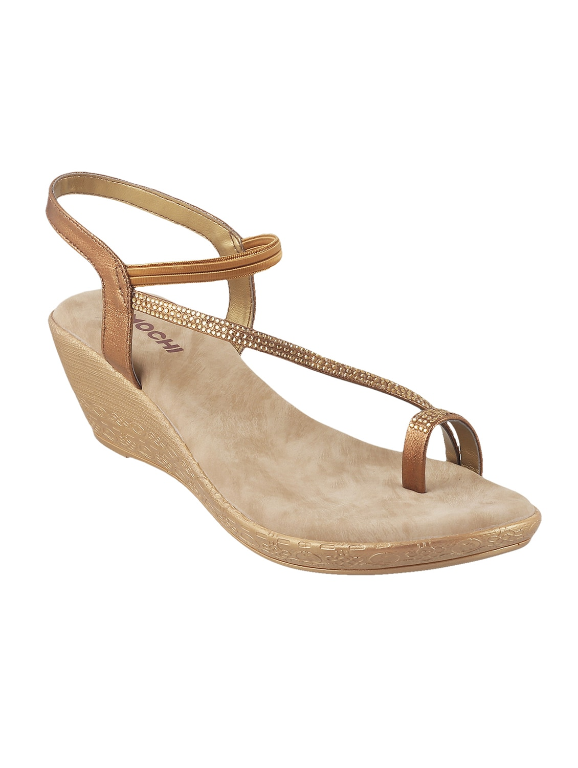 e773481cc Buy Gold Ankle Strap Wedge for Women from Mochi for ₹1690 at 0% off ...