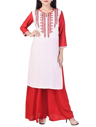 white rayon embroidered kurta palazzo set -  online shopping for Sets