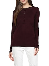 red viscose henley tee -  online shopping for Tees