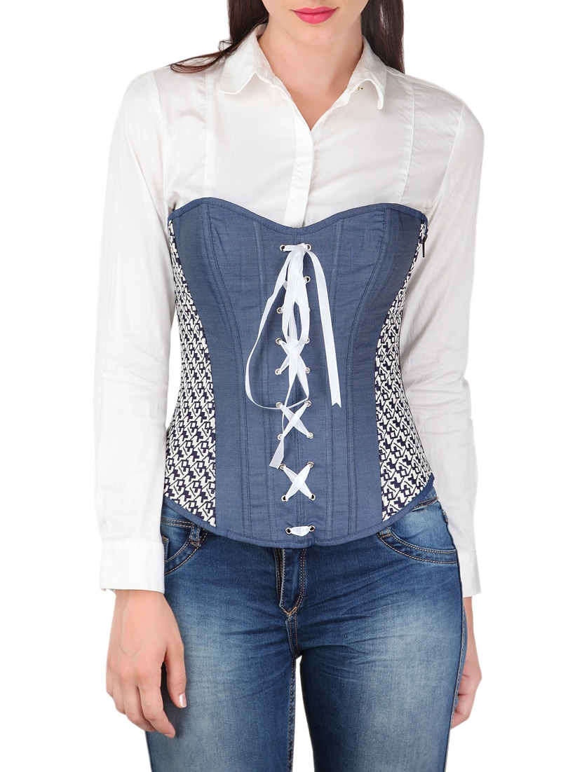 394f0037b42dc3 Buy Lace Up Over-bust Denim Corset Top for Women from Godinattire for ₹2210  at 15% off
