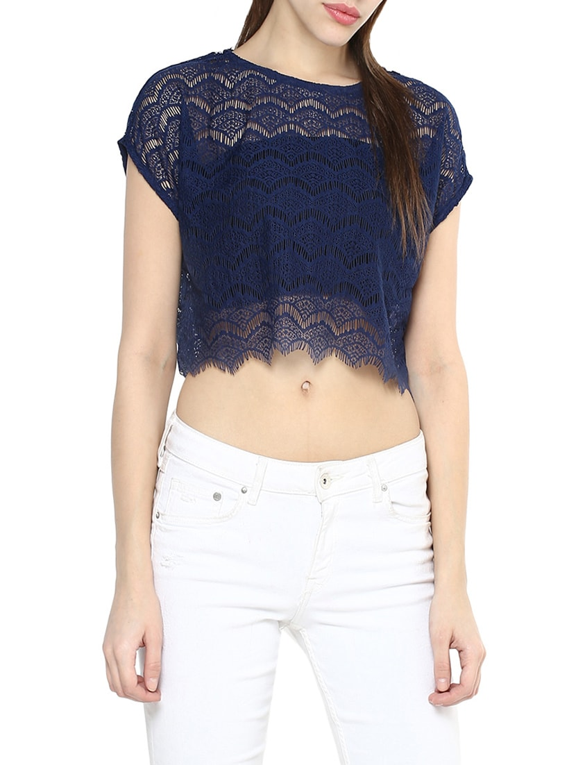 9d8685c09fcd6e Buy Navy Blue Cotton Crop Top for Women from La Zoire for ₹528 at 47% off