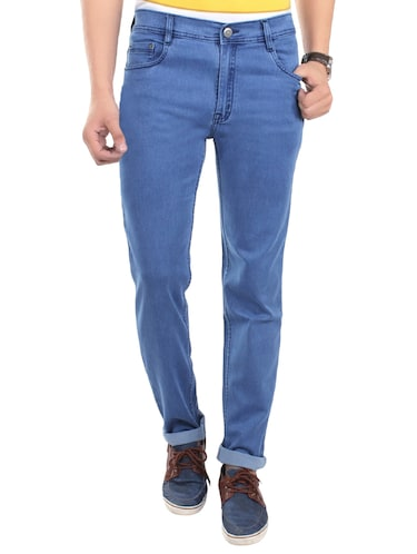 solid blue cotton blend jeans - 13749908 - Standard Image - 1