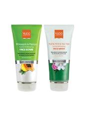 VLCC Alpine Mint & Tea Tree L Face Wash 150 Ml & Pineapple&Papaya Face Scrub 75m - By