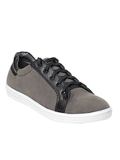 grey nubuck lace up sneakers -  online shopping for Sneakers