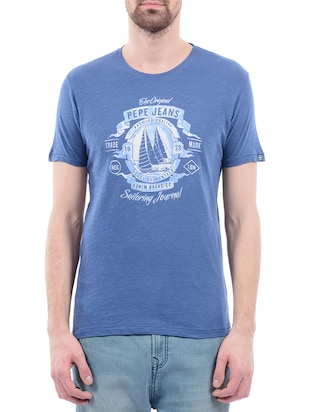 blue cotton tshirt -  online shopping for T-Shirts