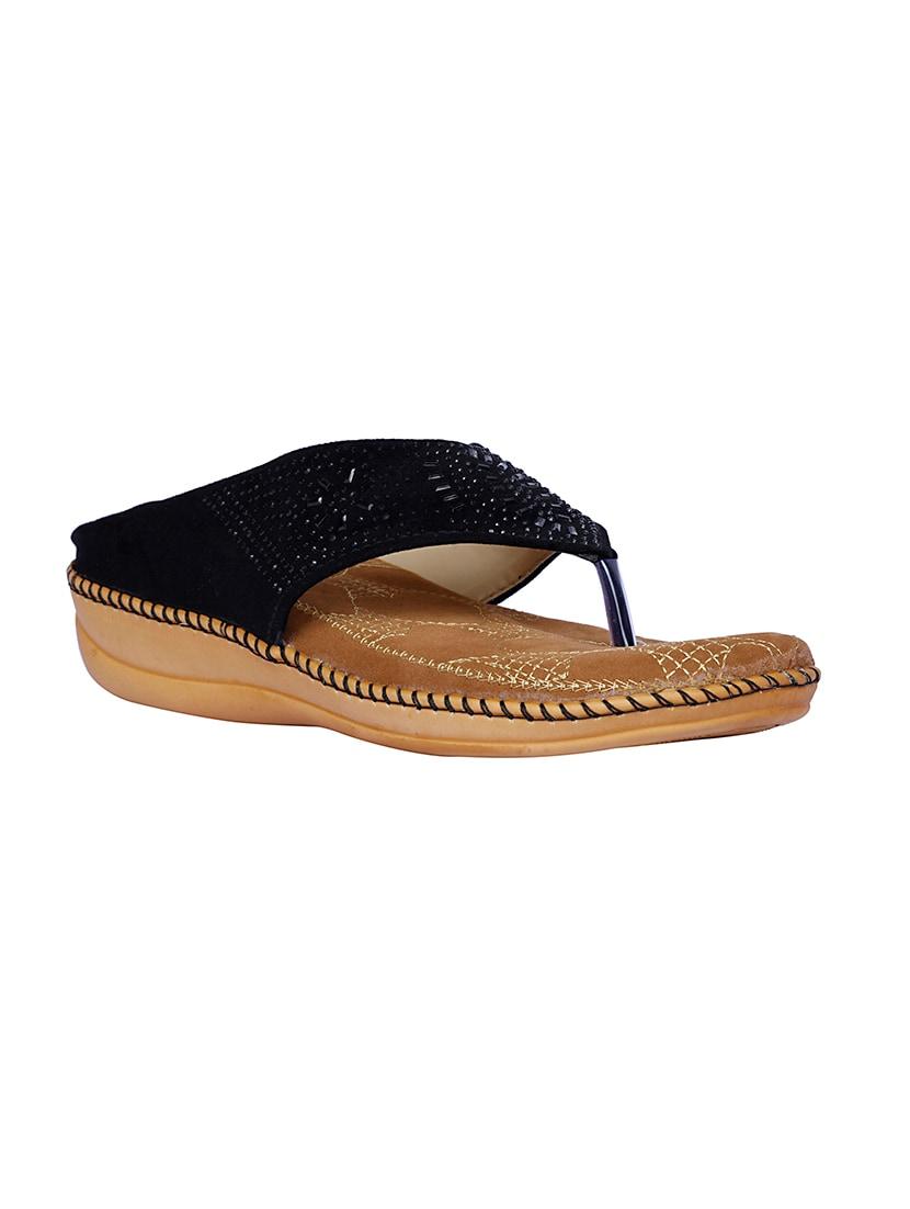 2e36e7c92dde Buy Black Toe Separator Slippers by Lovely Chick - Online shopping ...