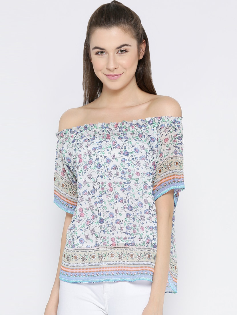 9fcbe332d0d8 Buy Blue Chiffon Off Shoulder Top for Women from Vaak for ₹619 at 57% off