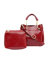 red leatherette  regular handbag with pouch -  online shopping for handbags
