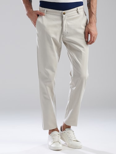 white cotton flat front casual trouser - 13813868 - Standard Image - 1