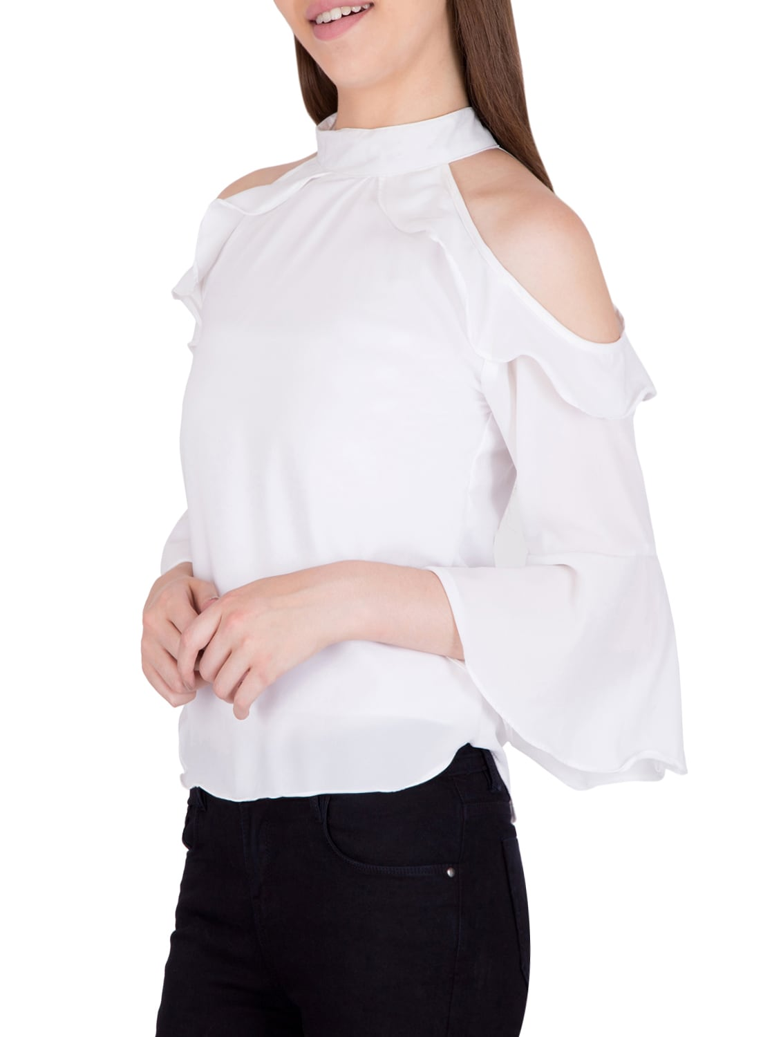 d62bd66384c6a2 Buy White Georgette Ruffle Top by Khhalisi - Online shopping for Tops in  India