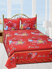 polycotton floral printed double bedsheet with 2 pillow cover -  online shopping for bed sheet sets