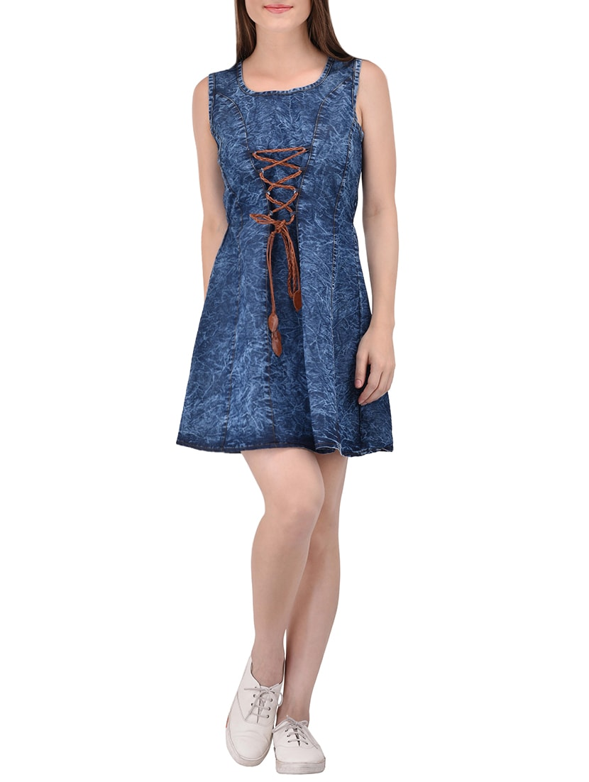 5887e852038 Buy Blue Denim Aline Dress for Women from Style Souk for ₹1099 at 0 ...