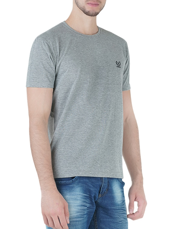 d477721a2f7 Buy Grey Cotton T-shirt by Vimal - Online shopping for T-shirts in India