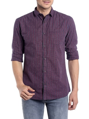 Purple cotton casual shirt -  online shopping for casual shirts
