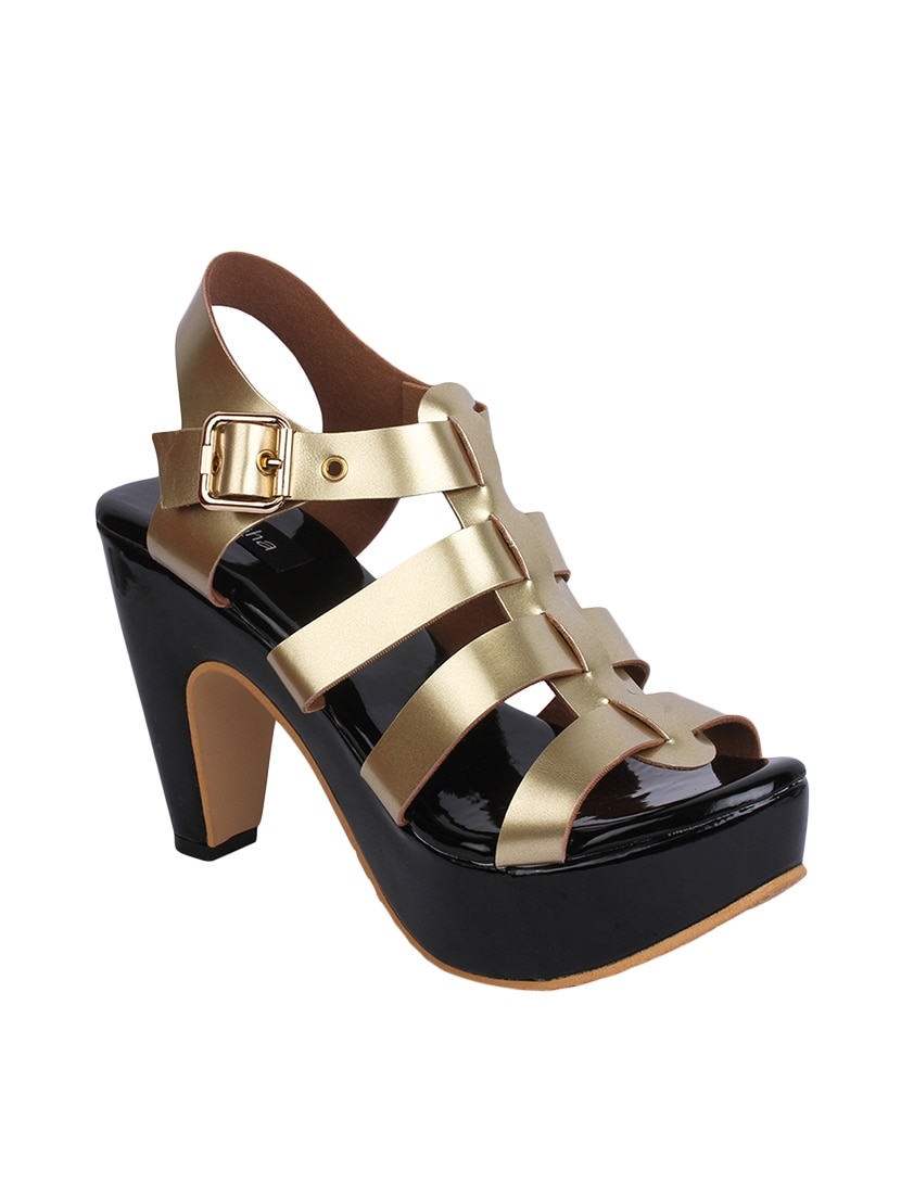 2e957e3a7bfaa Buy Gold Ankle Strap Sandal by Naisha - Online shopping for Sandals ...