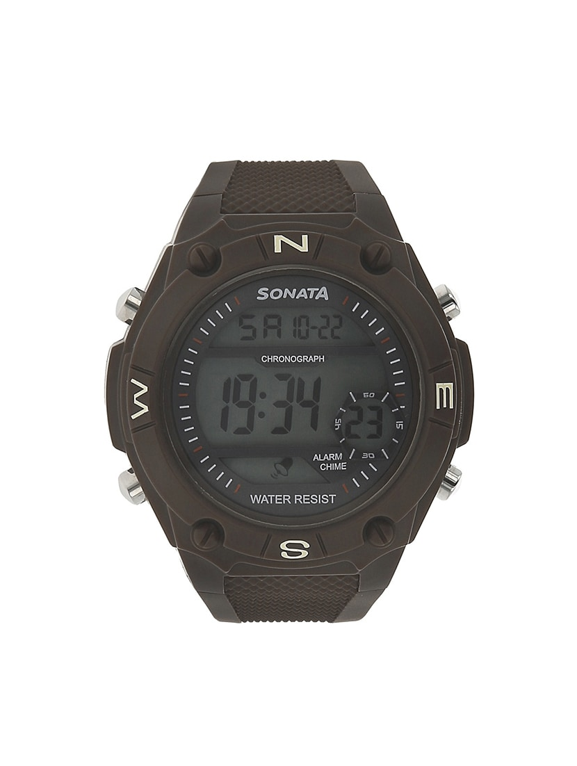 sonata black dial digital watch for men   77033pp02