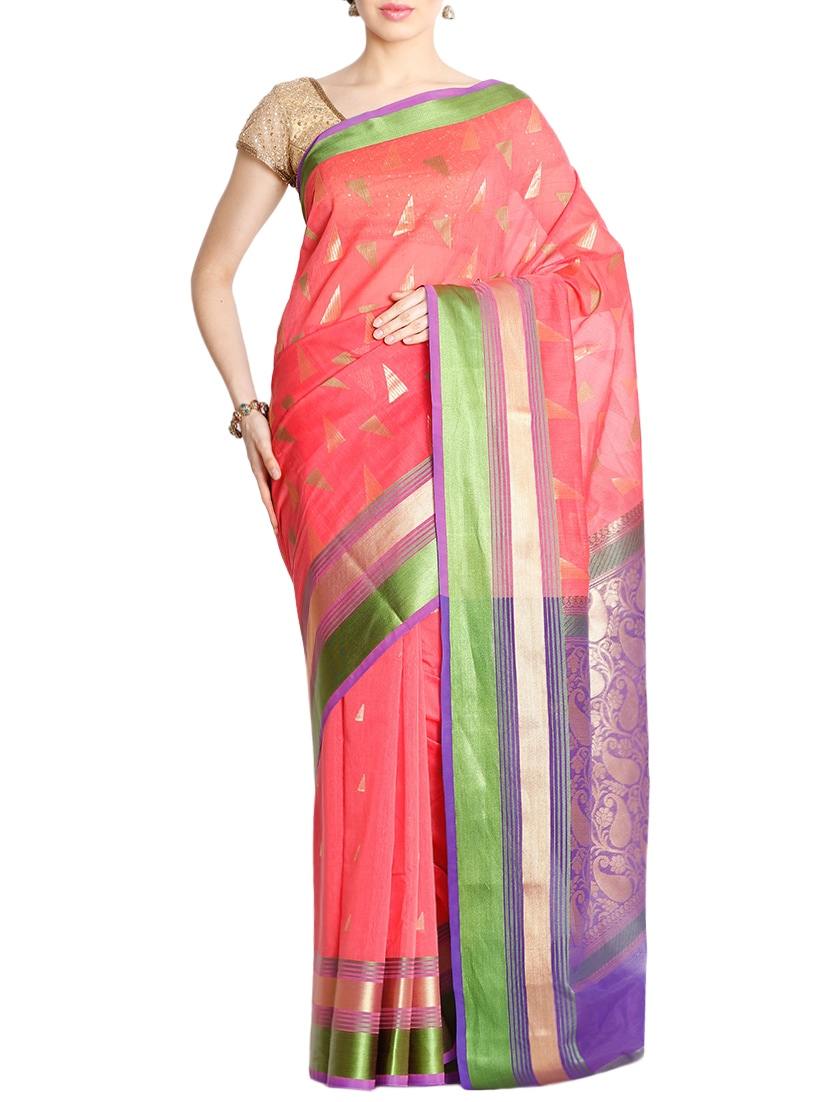 The Chennai Silks pink jacquard saree with blouse