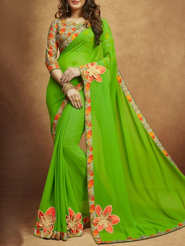 Floral embroidered saree with blouse - 13848247 - Standard Image - 1