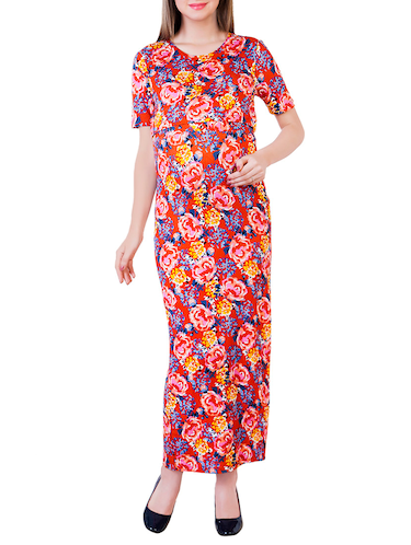 red printed viscose maternity wear - 13853780 - Standard Image - 1