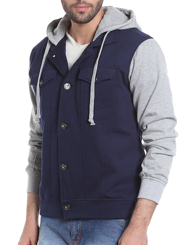 blue cotton casual jacket - 13855347 - Standard Image - 1