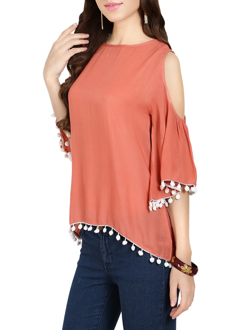 58b18a242ad Buy Peach Cold Shoulder Top With High Low Hem for Women from Naisha for  ₹619 at 53% off   2019 Limeroad.com
