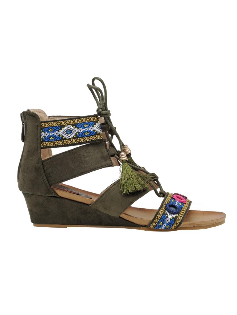 6b88f7f9483 Buy Flat N Heels Green Wedges by Flat N Heels - Online shopping for Wedges  in India