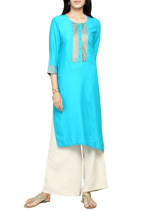 Turquoise rayon solid straight kurta -  online shopping for kurtas