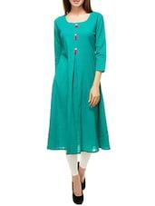 Turquoise Cotton Aline Kurta - By