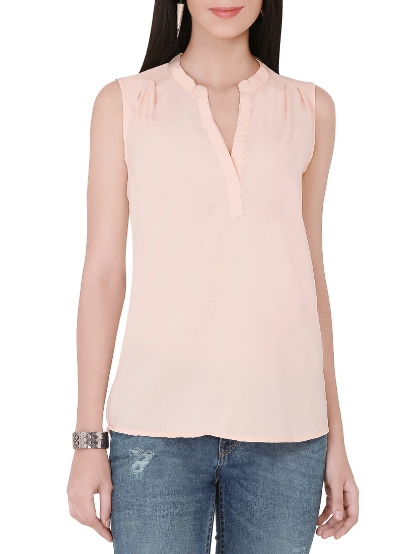 bc5c174414b39 Buy Solid Cream Sleeveless Top for Women from The Beach Company for ₹424 at  47% off