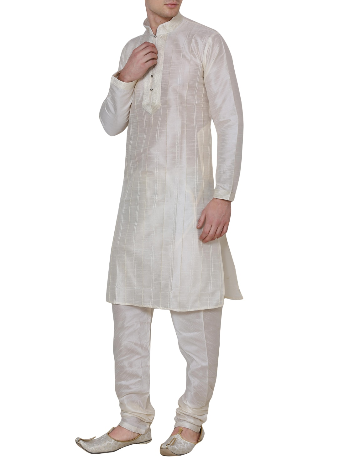 Buy Solid Cream Silk Blend Kurta Pyjama Set by Royal Kurta - Online  shopping for Ethnic Wear Sets in India  d7152f129