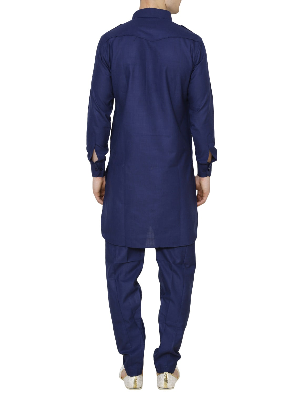Buy Solid Navy Blue Nylon Kurta Pyjama Set By Royal Kurta Online