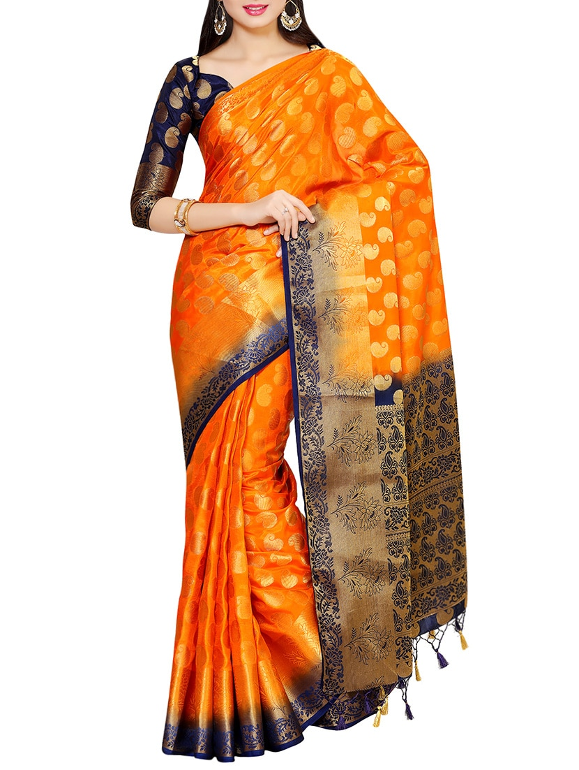 31088b832676e8 Buy Orange Kanjivaram Silk Saree With Blouse for Women from Mimosa for  ₹5566 at 7% off