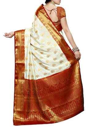 white and red kanjivaram silk  saree with blouse - 13885563 - Standard Image - 4