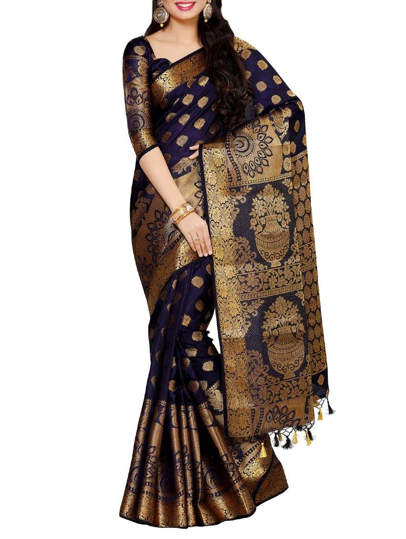 ffd4649ecac5b7 Buy Navy Blue Kanjivaram Silk Saree With Blouse for Women from Mimosa for ₹ 2574 at 49% off