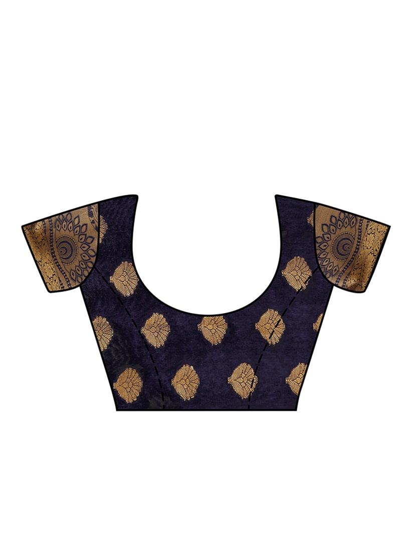 2e0703db183348 ... navy blue kanjivaram silk saree with blouse - 13885604 - Zoom Image - 4