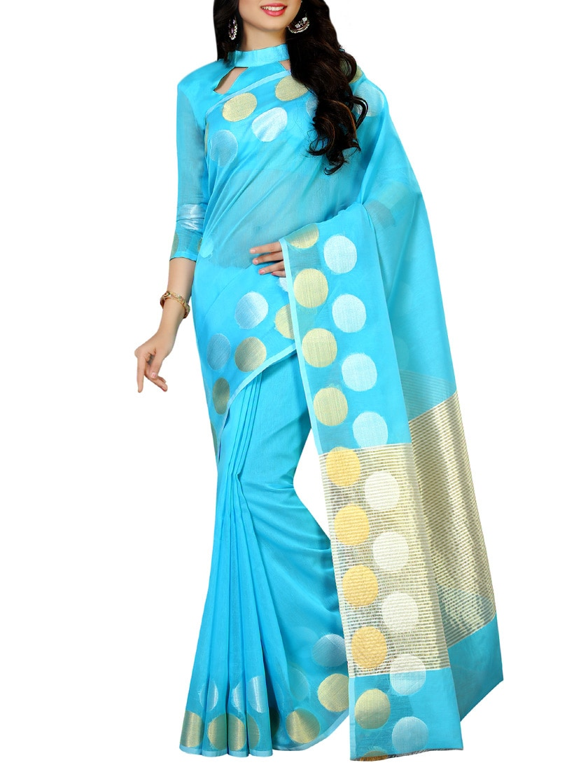 535599f4f0 Buy Blue Cotton Woven Saree With Blouse for Women from Mimosa for ₹1365 at  59% off | 2019 Limeroad.com