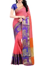 Pink cotton silk woven saree -  online shopping for Sarees