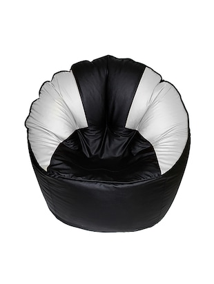 Black White Leatherette Modha Chair Bean Bag