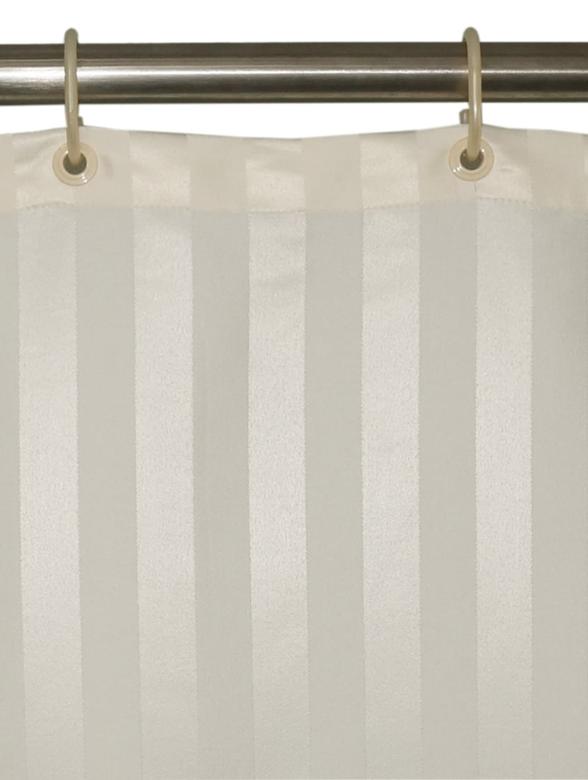 Buy Lushomes Thick Striped Cream Water Repellent Shower Curtain By