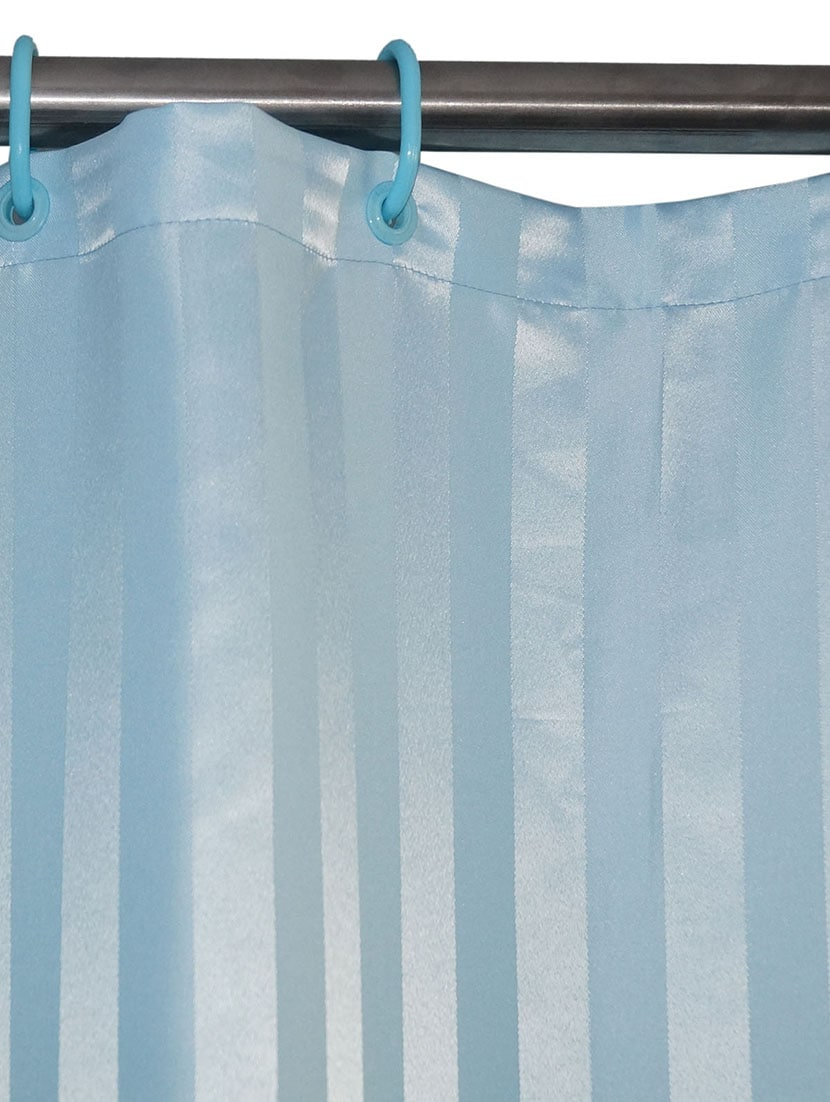 Buy Lushomes Thick Striped Light Blue Water Repellent Shower Curtain By