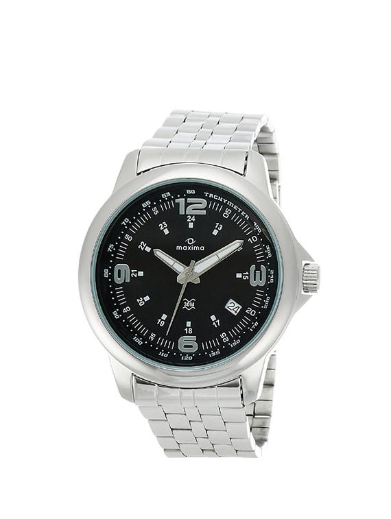 maxima black dial analog watch for men   24111cmgi