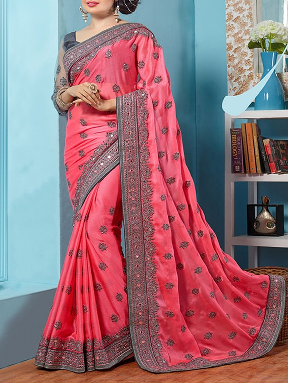 3171227cf12 Buy Pink Embroidered Poly Silk Saree With Blouse for Women from Tiana  Creation for ₹1547 at 57% off